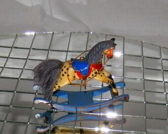 Vintage Hallmark Appaloosa Rocking Horse Christmas Ornament / Decoration 1984