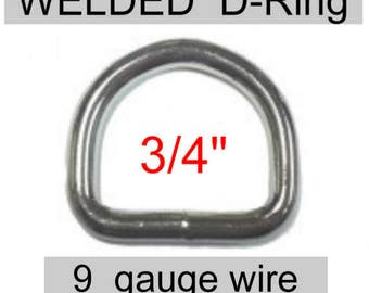 "100 PIECES - 3/4"" - HEAVY WELDED D  Ring, 3/4 inch, 19.05mm, 9 gauge - Nickel Plate Finish"
