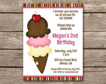 Ice Cream Party Invitation, Ice Cream Invitation, Ice Cream Birthday Invite, Icecream Invitation, Ice Cream Thank You Card, PRINTABLE