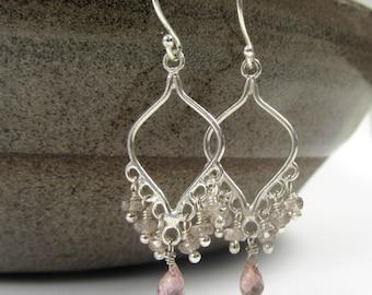 Tourmaline Zircon Silver Earrings - Pink Tourmaline Earrrings - Silver Chandelier Earrings - Zircon Silver Earrings - Pink Silver Earrings