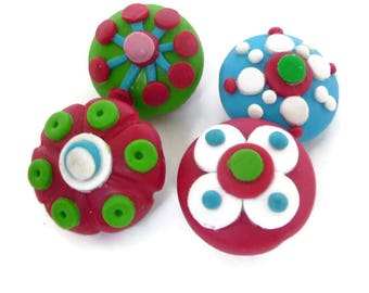 Lampwork Fimo Beads, Polymer Clay Beads, Red White Beads, Green Red Beads, Turquoise Red Beads, Lampwork Beads,