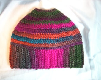 Bun Beanie - Pony Tail Hat - Messy Hair Hat - Womens Beanie - Multi Stripe Tropics - FREE laundry bag - Ready To Ship
