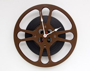 Movie Reel Clock, Theater Decor, Movie Lover Clock,  Photographer gift, Filmmaker Gift, Unique Wall Clock, 16mm Antique Film Reel Wall Clock