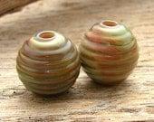 GARDEN BARRELS - Handmade Lampwork Beads - Earring Pair - 2 Beads