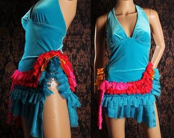 Tea Party Dress, short Blue velvet halter dress, Gothic Lolita babydoll, Circus costume, Festival sundress, tattered ruffle, shabby chic