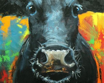 Cow painting animals 1219  24x36 inch original portrait oil painting by Roz