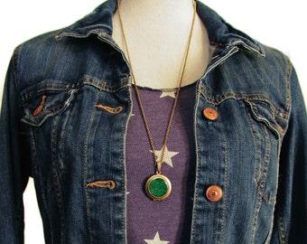 Glitter Locket- Emerald Green Bling Glitter Locket Necklace