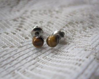 Tigers Eye Stud Earrings ~ Gemstone Stud Earrings ~ Minimal Stud Earrings ~ Surgical Steel Studs ~ Hypo Allergenic ~ Tigerseye Stud Earrings