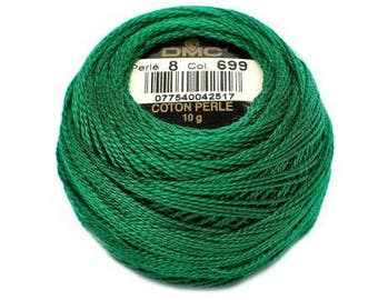 DMC Pearl / Perle Cotton Thread Balls Size 8 Christmas Green 699