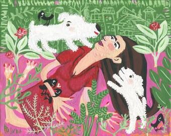 White Dog with Girl n Crow Art Painting - Original Whimsical Poodle Bichon Frise Havanese Maltese Outsider Folk Artwork - Green, Pink, Red