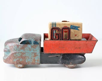 Vintage Toy Truck, Wyandotte Dump Truck, Red, Blue and Black