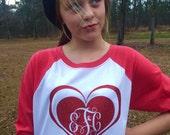 Girls Valentine Monogrammed Ragland Shirt