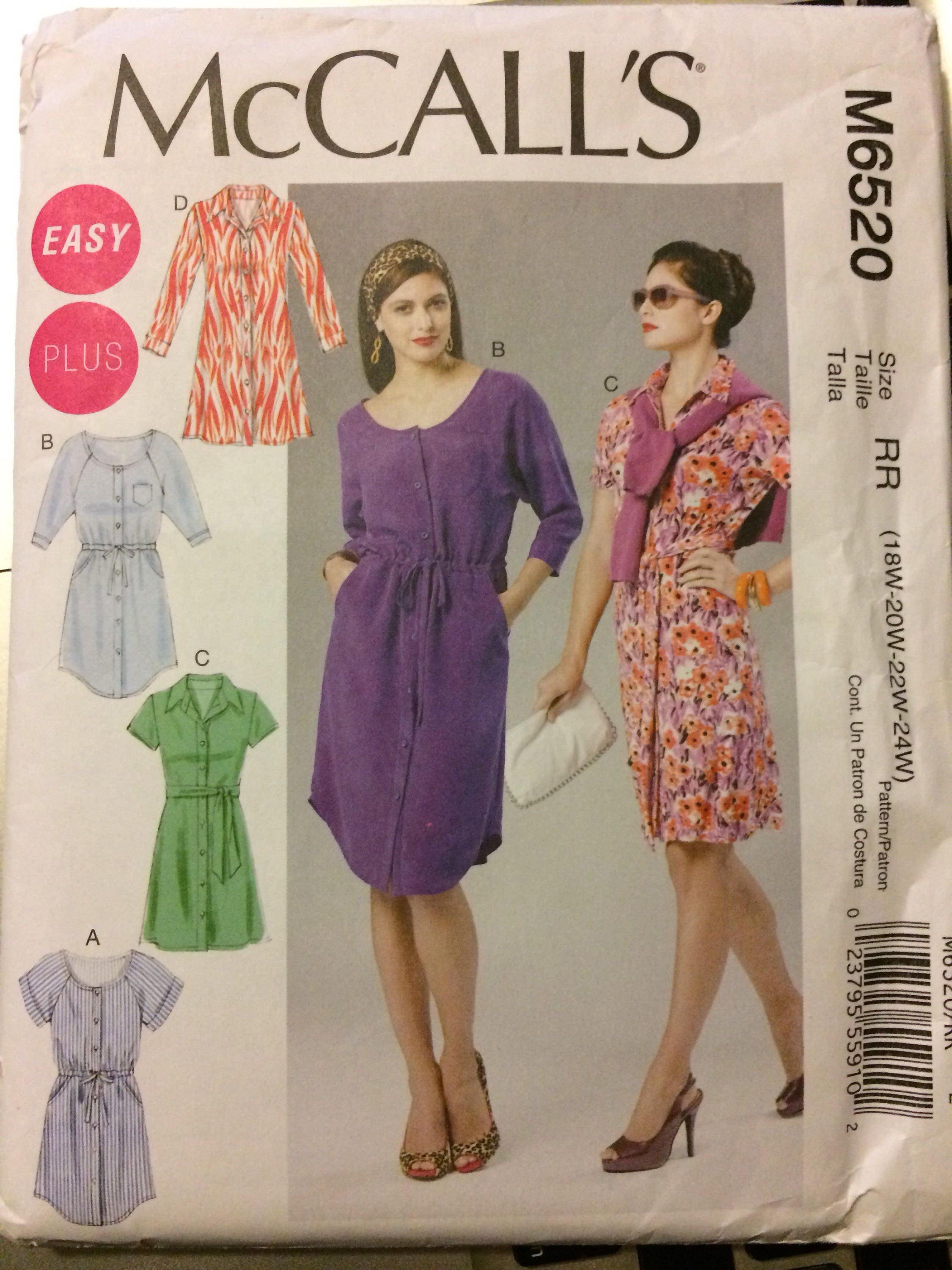 7955a5ce5fb Uncut McCall s 6520 Sewing Pattern Women s Dress Bust 40-46 inches Complete  Plus Size from GoofingOffSewing on Etsy Studio