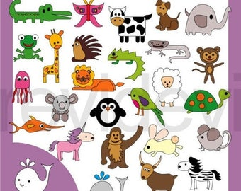50% OFF SALE Alphabet graphic clipart - animals alphabet clip art A to Z - commercial use digital images, instant download
