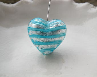 Murano Glass Heart bead , 18mm