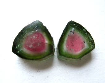 Watermelon Tourmaline Slices Quality AAA matching stones earrings