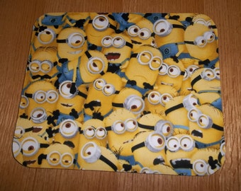 Mouse Pad, Yellow, Minions, Mouse Pads, Desk Accessories, Office Decor, Handmade, Gift, MousePad, Rectangle, Mouse Mat, Computer Mouse Pad