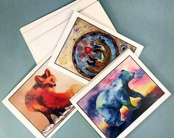 5 pack Note Card, Art Print Cards, Spirit Animal, Watercolor Fox, Rainbow Bear, Fox Watercolor Wash, Totem Fox, Native American Art,