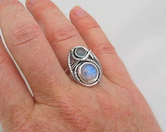Rainbow Moonstone Ring Aquamarine Ring Sterling Silver Ring Size 7 Ring Wire Wrapped Ring Heady Wire Wrap Ring Moonstone Wire Wrap