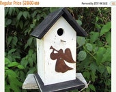 ON SALE White Black Primitive Birdhouse Rusty Angel With Harp