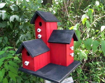 Fathers Day Sale Primitive Country Condo Birdhouse Red and Black Three Nesting Boxes