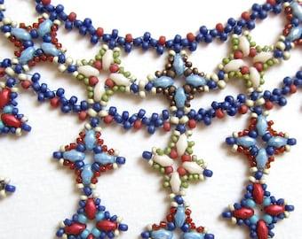 Marrakesh Collar, Beadwoven Statement Necklace, Fringed Bib Necklace, Multicolour Glass Bead Choker, Original Design