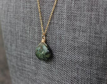 Kambaba Jasper Gold Necklace
