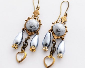Valentine's Day Gift, Pearl and Heart Earrings, Grey and Gold, Crystal Earrings, Victorian Earrings, Silver Pearl Earrings, Romantic Jewelry