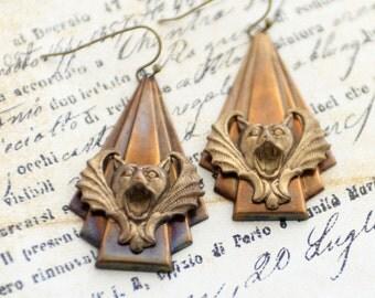 Gargoyle Vampire Bat Art Deco Earrings, Patina Brass Earrings, Gargoyle Jewelry, Goth Earrings, Bat Earrings, JewelryFineAndDandy, WingedBat