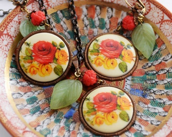 Floral Necklace Earrings Set, Red Rose Jewelry Set, Colorful Summer Accessory, Rose Garden Necklace, Vintage German Cabochons, Rose Earrings
