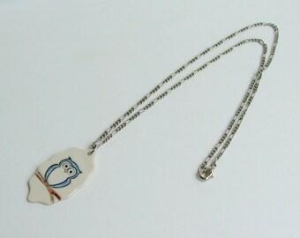 Handmade Porcelain Pendant with Chain, Owl