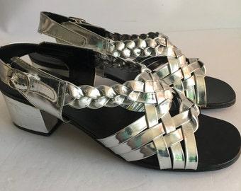 Metallic Vintage Braided Silver Lamè Sandals Size 9 1960's  Sling Back Chunky Heel Gladiator Style Mod Futuristic