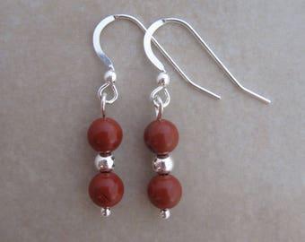 red jasper sterling silver earrings