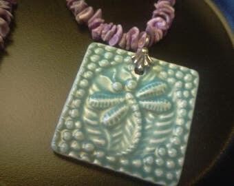 Glazed ceramic dragonfly pendant necklace