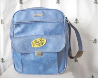 Vintage Blue Samsonite Sonora Carry On Crossbody Bag, Luggage, Suitcase, Messenger