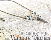 Pewter Pyrite Spike Necklace | As Seen on Bonnie on The Vampire Diaries | Dark Silver & Gun Metal Chain Necklace | Adjustable Chain
