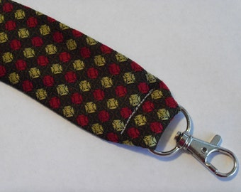 """Recycled Necktie 5.5"""" Flat Key Fob Brown Maroon and Gold Dots"""