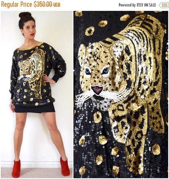 JANUARY SALE / 20% off Vintage 80s 90s Wildcat Sequined Dolman Sleeve Silk Dress