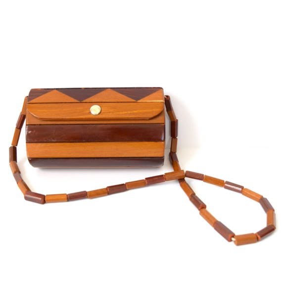 SUMMER SALE / 20% off Vintage 50s 60s Wooden Purse with Beaded Strap