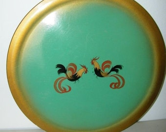 Vintage Rooster Chicken Wood Tray Hand Painted Wooden Round handpainted 13116