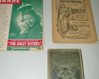 Lot Vintage Show Books Entertainment Pamphlet Opera Song Parade Shoemaker 13128