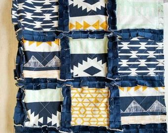 Aztec Baby Quilt - Aztec Crib Bedding - Aztec Baby Blanket - Navy, Gold, Mint Green Minky Blanket - Baby Shower Gift - Aztec Nursery Blanket