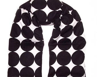 """READY to SHIP - Microwave Heating Pad, 28x5"""" Long Wrap, Rice Flaxseed, Hot Cold Pack, Headache Helper, Neck Shoulder Back, Black White Dot"""