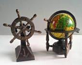 Globe and Ship Captain Wheel Pencil Sharpeners Diecast Metal Miniature Mini Bronze Copper Die Cast Nautical