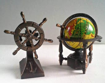 Globe and Ship Captain Wheel Pencil Sharpeners Diecast Metal Miniature Mini Bronze Copper Die Cast Nautical