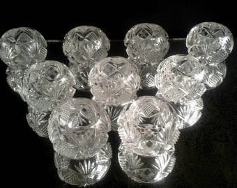 9 Glass Crystal Open Salt Cellars Cut Pressed Formal Dining