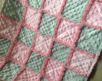 Soft pink and grey/ all minkee /Sweet and Soft baby girl security rag quilt