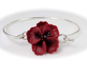 Hibiscus Bracelet Sterling Silver Bangle - Hibiscus Jewelry