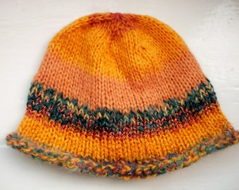 Beanie hat, scrap hat, mixed fibres, hand knitted classic style contemporary colours