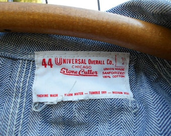 Vtg Herringbone denim coveralls - Universal Overall Union Made Sanforized - Made in U.S.A.